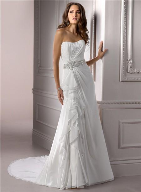 A line strapless ruched chiffon wedding dress with for A line wedding dress with ruching