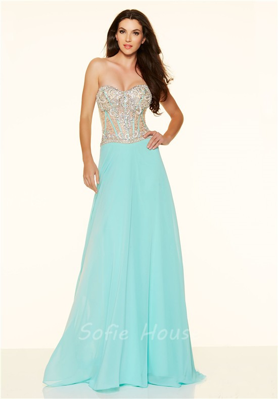 Orange Long Strapless Aqua Dress