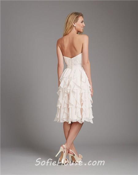 Cream Chiffon Short Dresses