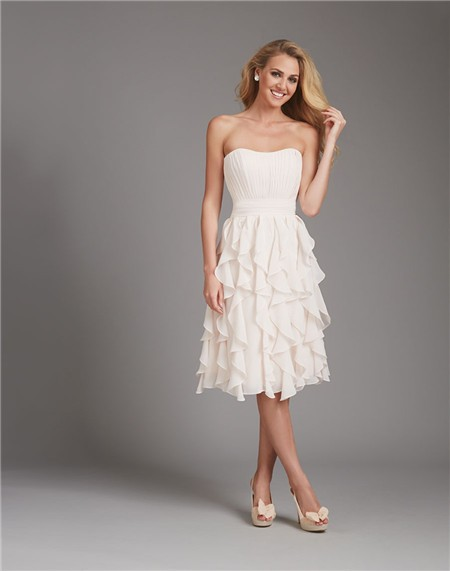 A Line Strapless Short Ivory Cream Chiffon Ruffle Wedding Guest ...