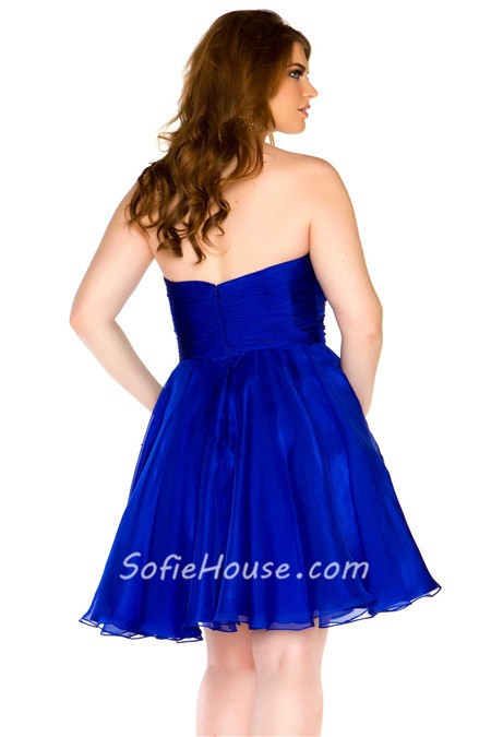 Strapless royal blue prom dresses