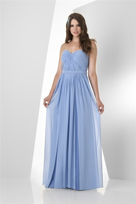 A line strapless sweetheart long light blue chiffon ruched for Long blue dress for wedding