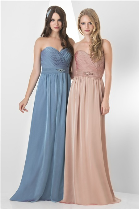 A Line Strapless Sweetheart Long Peach Chiffon Formal