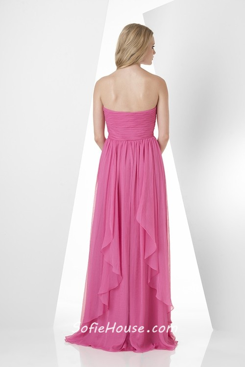 A line strapless sweetheart long pink chiffon ruffle for Pink ruffle wedding dress