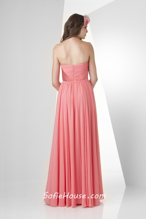 A line strapless sweetheart long tulip chiffon draped for Strapless wedding guest dresses