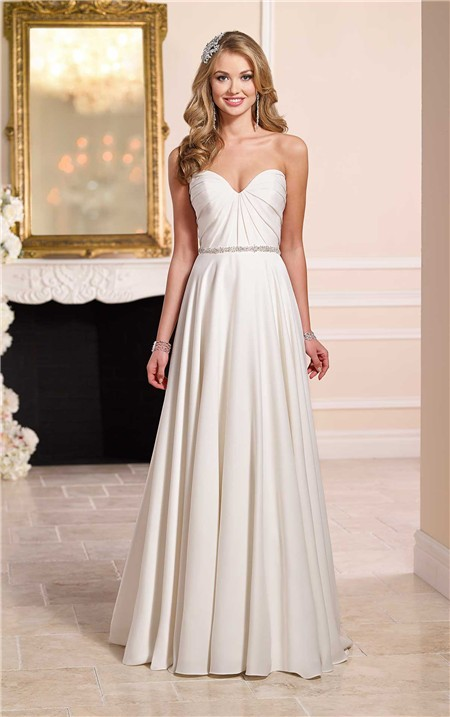 A line strapless sweetheart satin pleated wedding dress for Satin belt for wedding dress