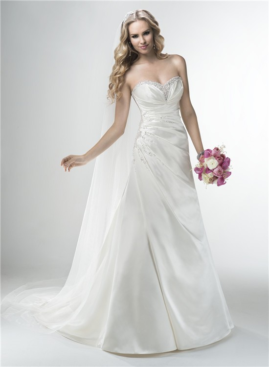 Line Strapless Sweetheart Silk Satin Draped Wedding Dress Corset Back