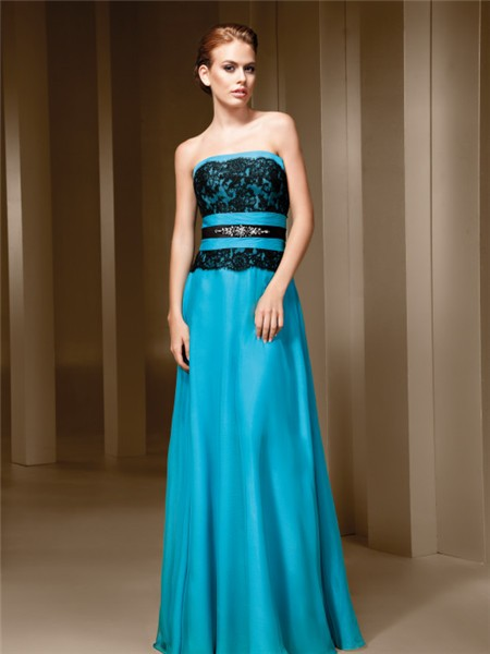 Line Strapless Turquoise Blue Chiffon Black Lace Long Evening ...