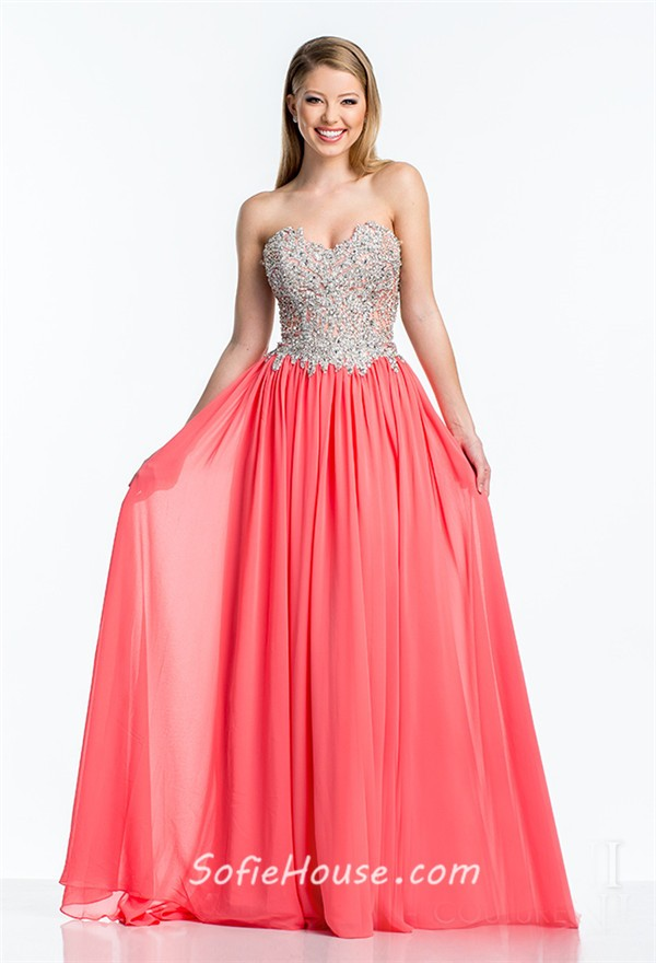 a line strapless turquoise chiffon sequin beaded long