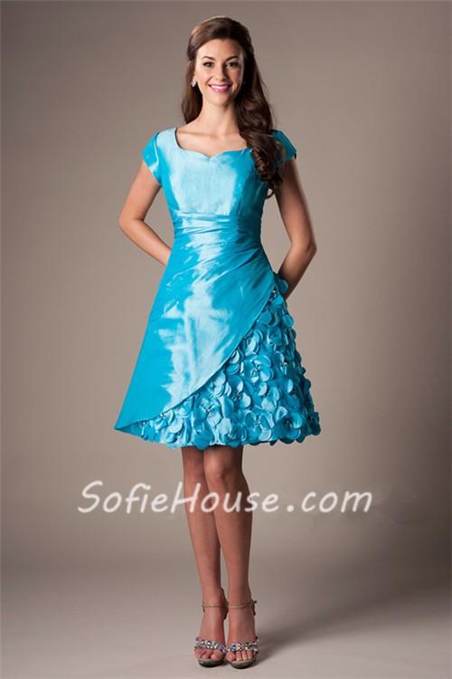 A Line Sweetheart Cap Sleeve Turquoise Blue Taffeta Prom