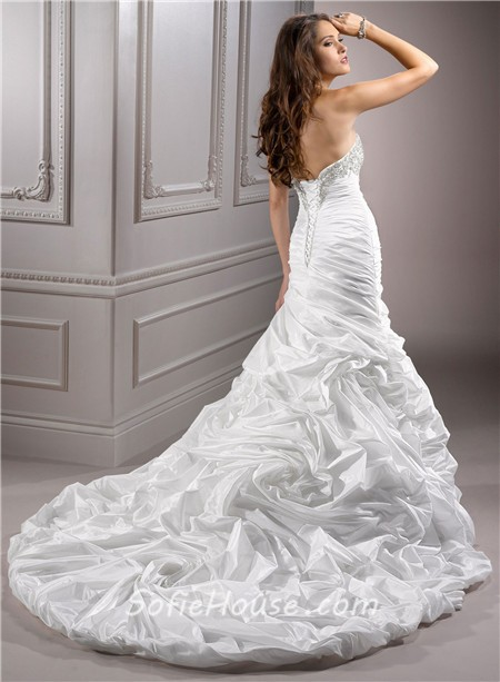 A Line Sweetheart Corset Back Beaded Taffeta Wedding Dress With ...