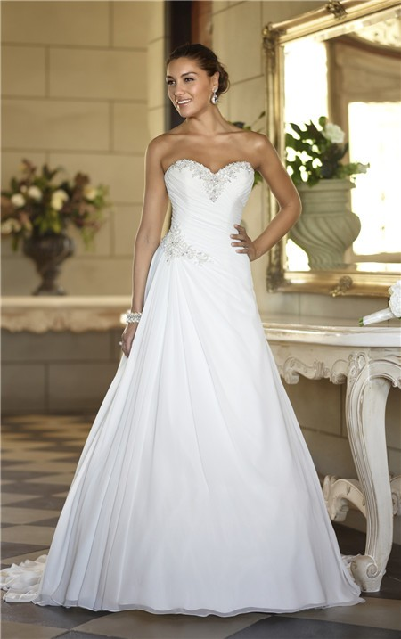 A line sweetheart corset back chiffon beaded wedding dress for Sweetheart corset wedding dress