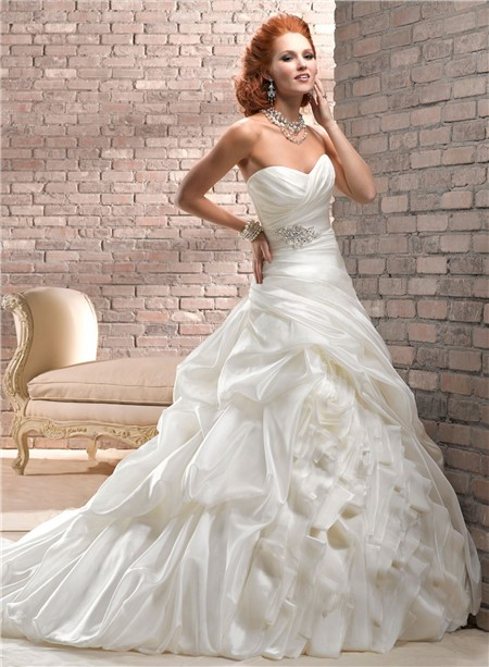A Line Sweetheart Corset Back Ivory Organza Wedding Dress