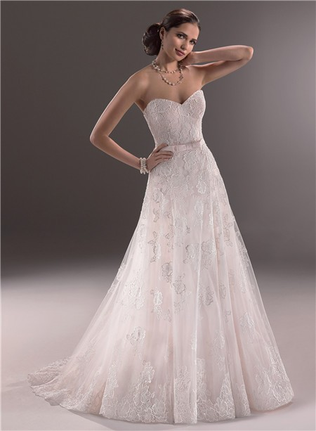 A line sweetheart corset back lace wedding dress with belt bow for Sweetheart corset wedding dress