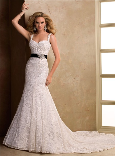 A Line Sweetheart Corset Back Lace Wedding Dress With Straps Black Sash