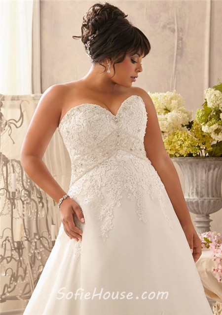 A Line Sweetheart Empire Waist Corset Back Organza Lace Crystal Plus Size Wedding Dress