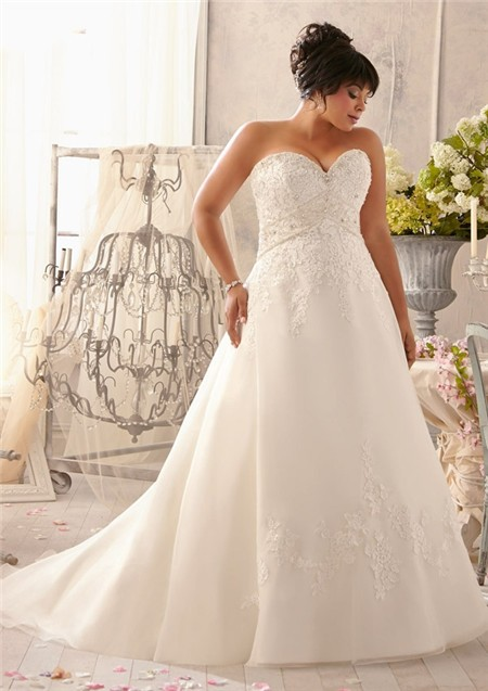 A line sweetheart empire waist corset back organza lace for A line plus size wedding dress