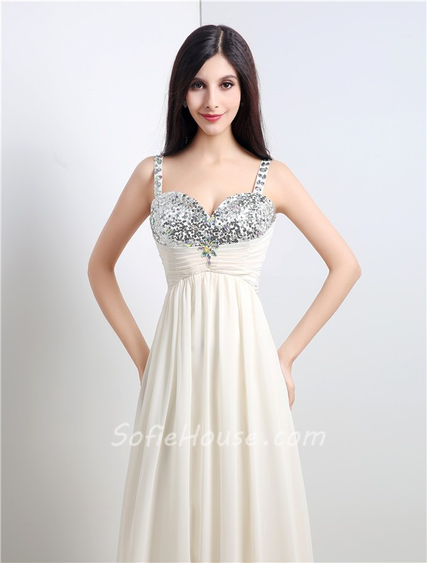 A Line Sweetheart Empire Waist Long Ivory Chiffon Sequin Prom Dress ...