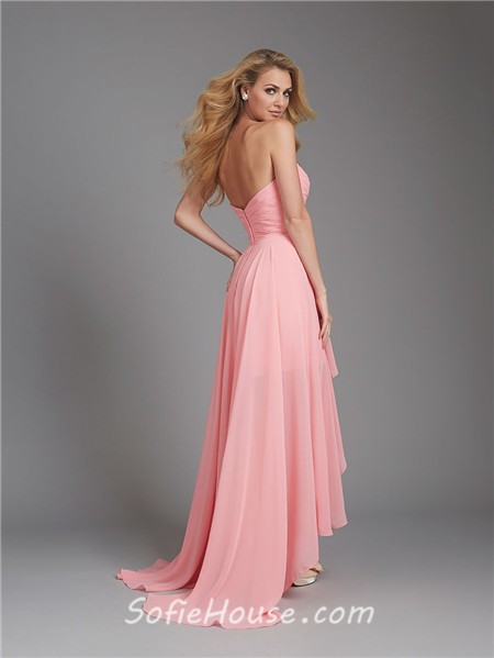 A line sweetheart high low coral chiffon ruched wedding for Hi lo dress wedding guest