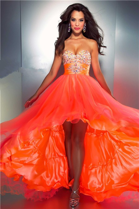 A Line Sweetheart High Low Orange Silk Tulle Beaded Party
