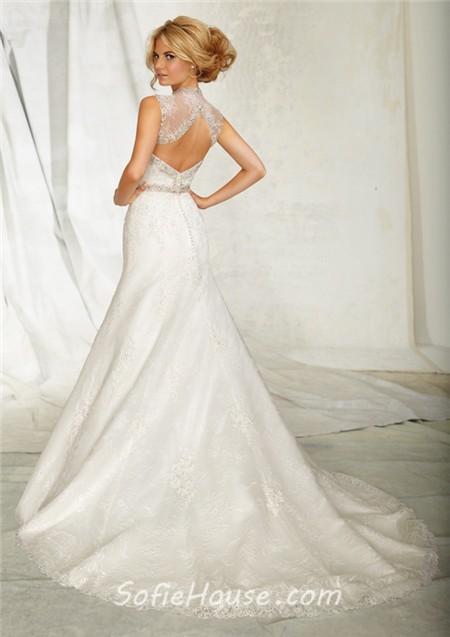 A Line Sweetheart Lace Beaded Crystal Wedding Dress With Bolero Jacket