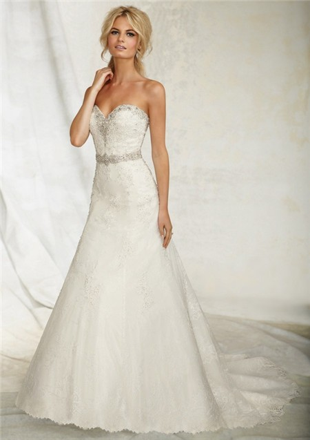 A Line Sweetheart Lace Beaded Crystal Wedding Dress With Bolero Jacket