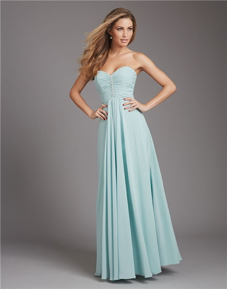 A line sweetheart long light blue chiffon ruched wedding for Baby blue wedding guest dress