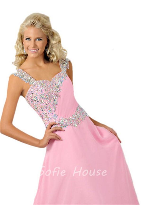 A Line Sweetheart Long Light Pink Chiffon Beaded Teen Prom Dress ...