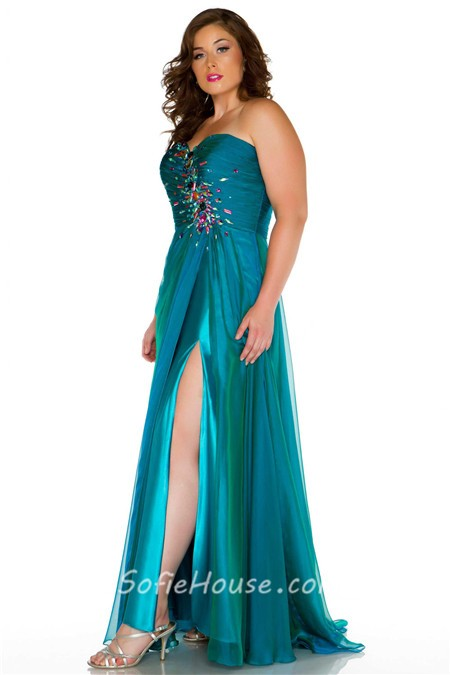 A-line Sweetheart Chiffon Evening Prom Dress