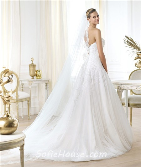 A Line Sweetheart Low Cut Back Lace Tulle Wedding Dress