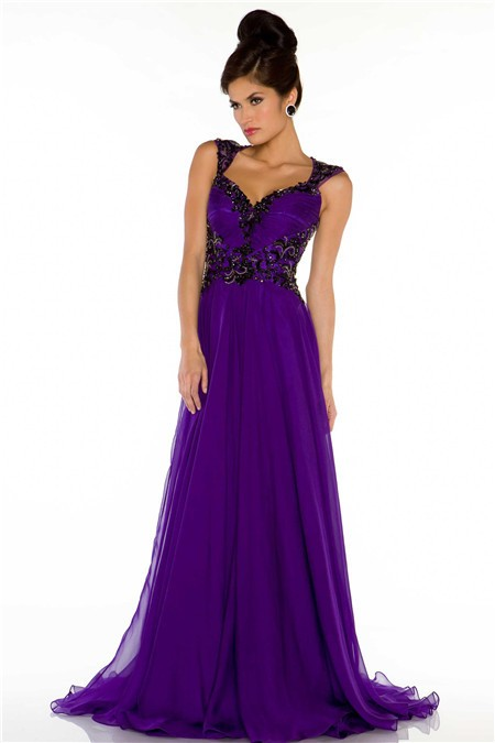 Line Sweetheart Open Back Long Purple Chiffon Beaded Special ...