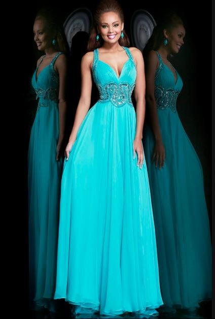 A Line Sweetheart Open Back Long Turquoise Chiffon Beaded Prom Dress ...