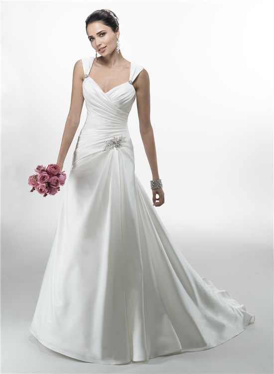 A line sweetheart ruched satin corcet wedding dress with for Sweetheart wedding dress with straps