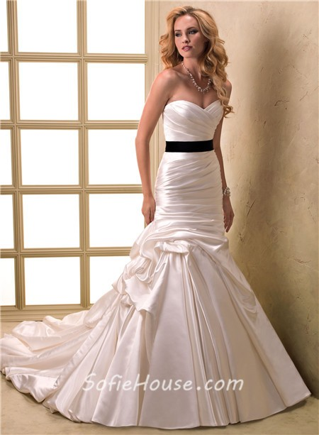 A line sweetheart ruched satin wedding dress with for Satin belt for wedding dress