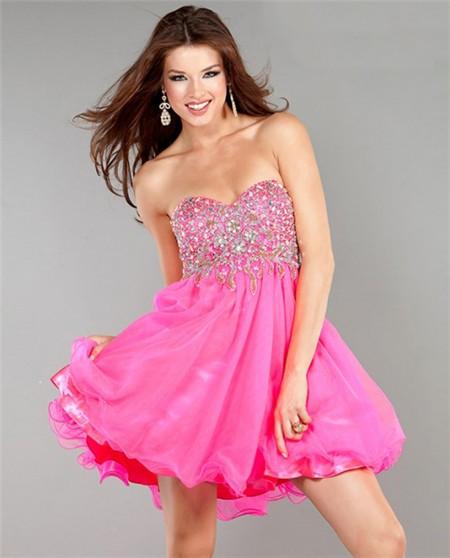 A Line Sweetheart Short Hot Pink Chiffon Beaded Sweet ...