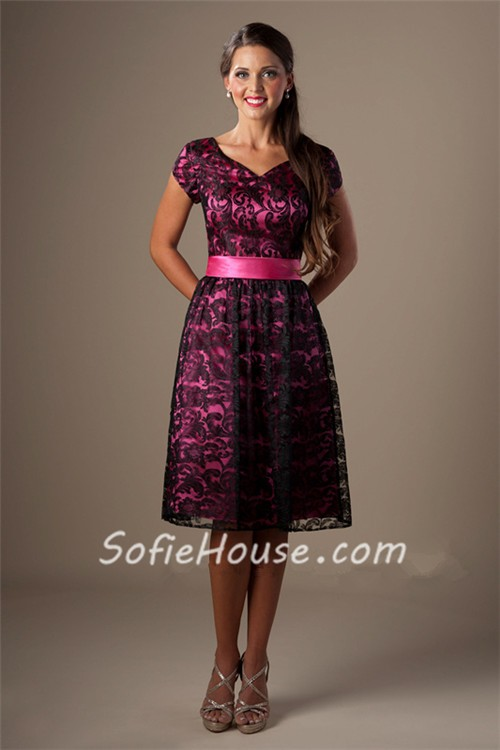 A Line Sweetheart Short Sleeve Hot Pink Satin Black Lace Modest