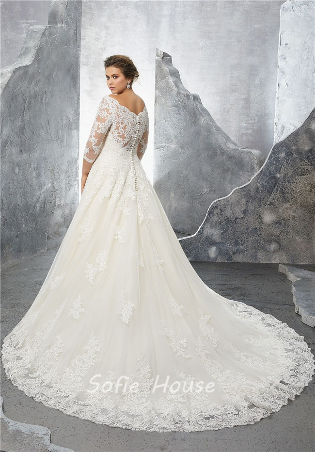 A Line Sweetheart Three Quarter Sleeve Tulle Lace Plus Size Wedding
