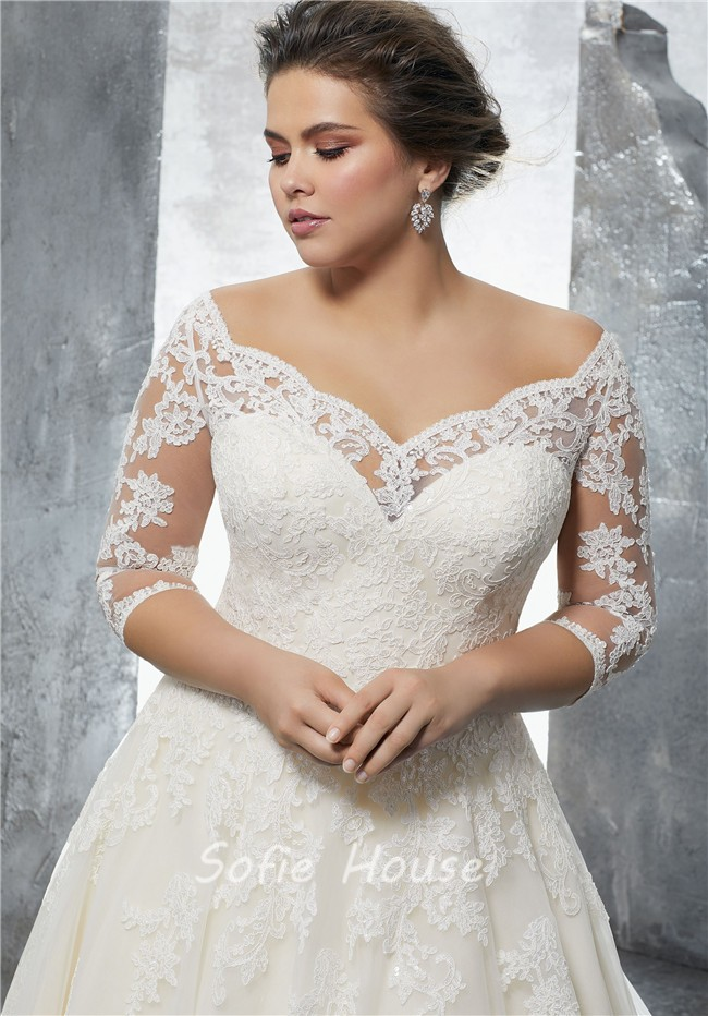A-Line-Sweetheart-Three-Quarter-Sleeve-Tulle-Lace-Plus-Size-Wedding-Dress -2.jpg