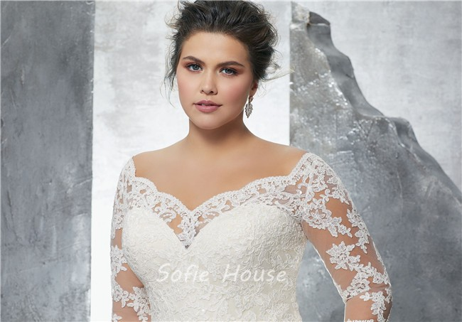 Plus Size Wedding Gowns With Sleeves: A Line Sweetheart Three Quarter Sleeve Tulle Lace Plus