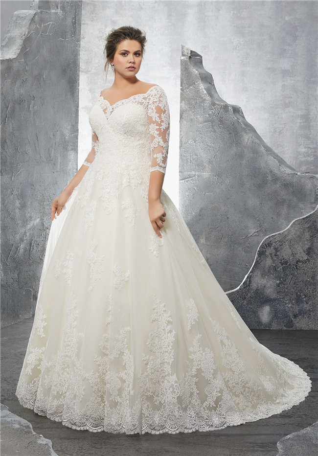 A Line Sweetheart Three Quarter Sleeve Tulle Lace Plus Size Wedding ...
