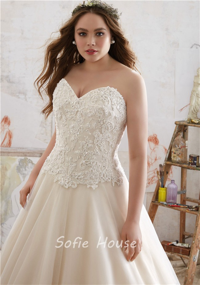 A line sweetheart tulle lace plus size wedding dress for Corset for wedding dress plus size