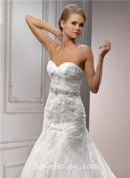 A line sweetheart tulle lace wedding dress with detachable for A line sweetheart tulle wedding dress