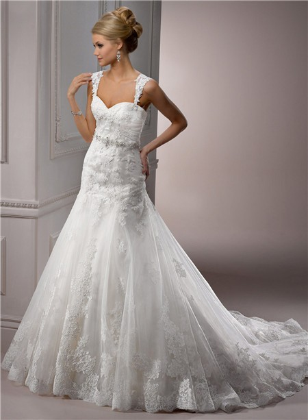 A Line Sweetheart Tulle Lace Wedding Dress With Detachable Straps ...