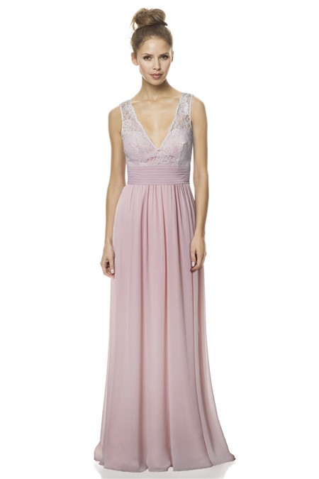 A Line V Neck And Back Long Light Pink Chiffon Lace Wedding Guest Bridesmaid Dress