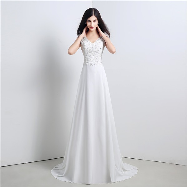 A Line V Neck Cowl Back Chiffon Lace Wedding Dress With