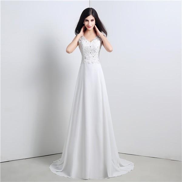 Cowl Neck Wedding Dress: A Line V Neck Cowl Back Chiffon Lace Wedding Dress With