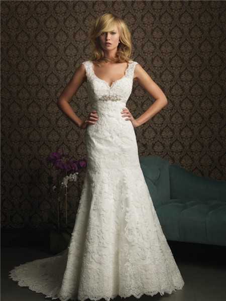 home a line v neck empire waist lace wedding dress with straps