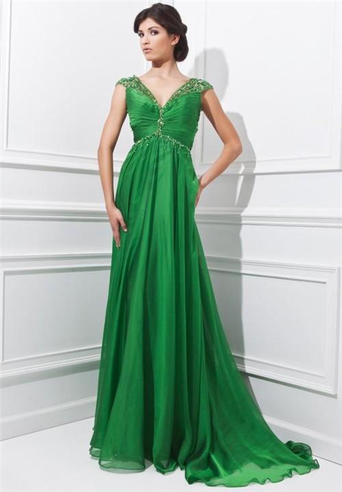 empire v neck evening dress