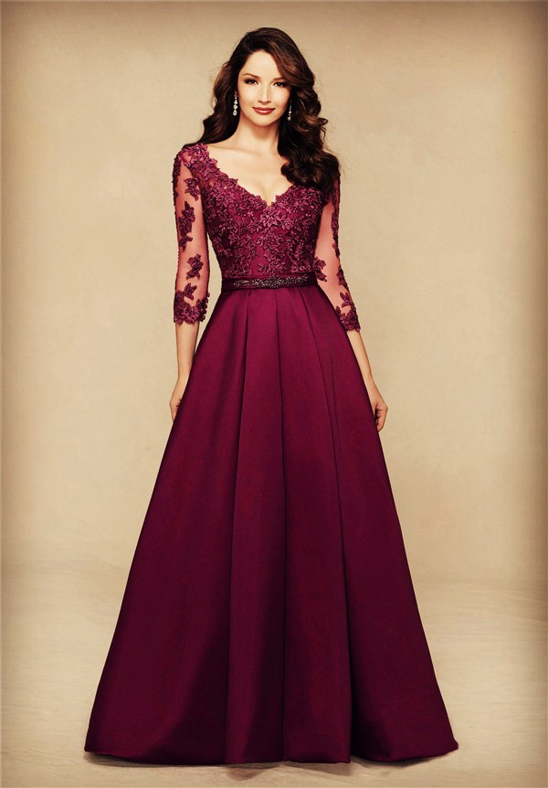 A Line V Neck Long Burgundy Satin Lace Sleeve Mother Of The Bride Evening Dress