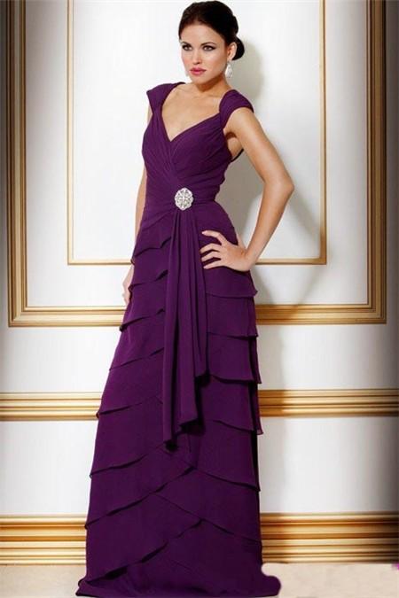 A Line V Neck Long Purple Tiered Chiffon Women Evening